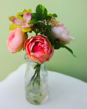 Artificielle Rose Pâle Rose Pivoine Fleur Arrangement En Style Vintage Bouteille de lait