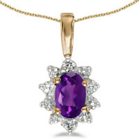 """10k Yellow Gold Oval Amethyst And Diamond Pendant with 18"""" Chain"""