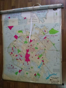 """Vintage Fayette County, Lexington, KY Pull-Down Map, Hearne Brothers, 50"""" x 68"""""""