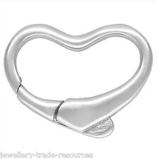 15mm STERLING SILVER HEART SHAPE PEARL / BEAD NECKLACE JEWELLERY CLASP CATCH