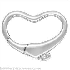 15 Mm De Plata Forma De Corazón Pearl / Perla Collar joyas broche capturas