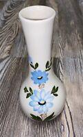 VTG FTD Flower Vase White Handpainted Blue Cornflower