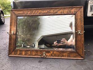Antique C1890 Quartersawn oak Hall/ Wall beveled mirror original hat coat hooks