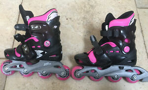 No Fear Kids size 1-4 (adjustable) Inline Rollerblades Black Pink