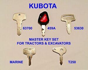 KUBOTA 5 Key Master Plant Set Tractors & Excavators 459A T250 53630 63700 CC