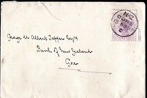 1888 New Zealand QV 2d Lilac Gore CDS Cover Postal History