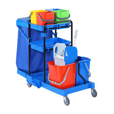More details for housekeeping cleaning trolley on wheels multi-purpose janitorial cart