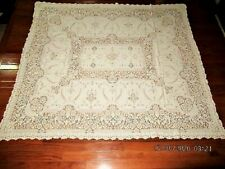 VTG 60X67 IVORY FLORAL PATTERN COTTON QUAKER LACE TABLECLOTH W LOOPS