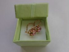 Vintage Soviet Solid Rose Gold Earrings 14K 583 Ruby 2.51 gr Russian USSR