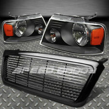 FOR 04-08 FORD F150 BLACK FRONT GRILL COVER+HEAD LIGHTS AMBER REFLECTOR LENS