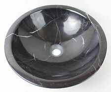 Solid Stone MARBLE Round BLACK Counter Top Basin Vanity Bowl NATURAL ROCK Sink