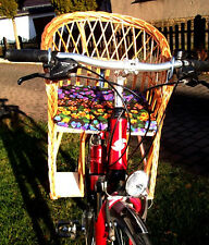 Bike Basket Bicycle Seat Children's GDR Wicker Front Handlebar without Pillow