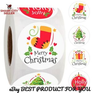 100Pcs Merry Christmas Socks Tree Label Sticker Gift Card Package Wrapping Xmas