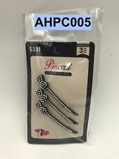 PINCCAT HAIR GEMS STONE BOBBY PINS 3 - COUNT BLACK WITH CLEAR STONE # AHPC005