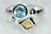 MAD SALE SKY BLUE TOPAZ & CITRINE STERLING HEAVY SILVER RING JEWELLERS OLD STOCK