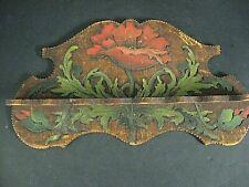 Antique Pyro-Art Pyrography Folding Tobacco Pipe Holder Poppy flower Leaf Design