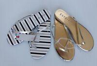 ESPRIT Party Flip Flops Flat Thong Sandals Silver Black Stripe / Gold - 2 pairs