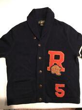 RUGBY RALPH LAUREN Varsity Letterman Patch Cardigan size L Navy Orange