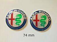 2x pz Kit Stemma ALFA ROMEO 74mm LOGO EMBLEMA MiTo 147 156 159 166 Giulietta
