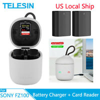 TELESIN 2Pack NP-FZ100 Battery Card Reader Charger Box For Sony A9 A7M3 A7R3 R4