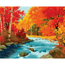 Paint By Number Kit Autumn Trees Forest Stream Nature DIY Picture 40x50cm Canvas