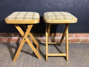 Pair Vintage Wooden Folding Stools Kitchen Stools