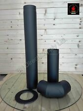 High Quality Stove Flue Pipe (150mm) 6 inch System Rigid Black Mat Kit internal
