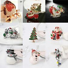 Christmas Gifts Xmas Rhinestone Crystal Snowman Stocking Santa Tree Robin Brooch