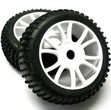 85746 1/8 Scale Off Road RC R/C Buggy Wheels and Tyres x 2 White