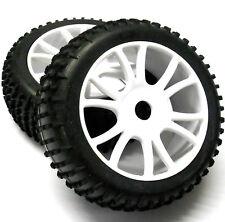 85746 1/8 échelle Hors Pistes RC R/C Pneus et roues Buggy x 2 Blanc