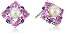 NEW 10k Pearl & Pink Sapphire & Amethyst Halo Flower Stud Earrings White Gold
