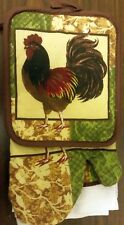 5 pc Kitchen Set: 2 Pot Holders, 2 Towels & 1 Oven Mitt, Rooster by Bh