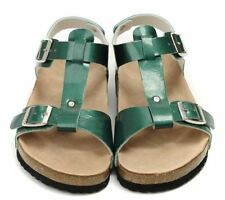 BIRKENSTOCK Metallic Patent Green ODESSA Slingback Cork Bed Sandals EU44 US12