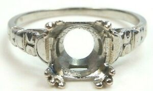 Antique Art Deco Filigree Setting Mounting 18KW Hold 8.5-9MM Ring Size 6.75 UK-N