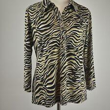 ALFANI Petite L PL Stretch Knit Henley Top Pullover Animal Print NEW Shirt