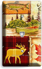 HUNTING CABIN FISHING MOOSE PATCHWORK PHONE TELEPHONE WALLPLATE COVER ROOM DECOR