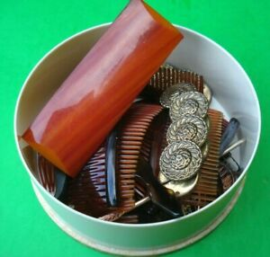 Vintage Hair Combs / Accessories Faux Tortoise Celluloid Plastic Goody France++