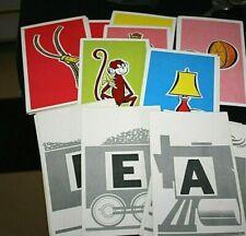 Vtg 1960s Flash Cards Upper Case Letters Complete Set Color Pictures Class -W=