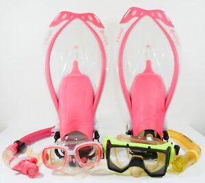 Body Glove Pink Snorkeling Set: 2 Masks, 2 Snorkels & Expanse II Fins Flippers