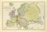 Original Map of EUROPE by Sidney Hall c1840 fine detail hand colour antique