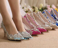 Women High Stiletto Heels Pumps Rhinestone Flower Wedding Shoes Bride Sexy