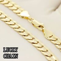 "30""14K GOLD PLATED DIAMOND CUT CUBAN CURB CHAIN NECKLACE 6.5mm 44g E892"