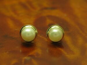 14kt 585 Yellow Gold Ear Studs With Akoya-Pearls Trim /Earrings/
