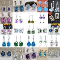 925 Sterling Silver Stud Drop Hoop Earrings White Zircon Crystal Women Wedding