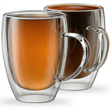 Set of 2 Double Wall Glass Coffee Cup 400ml Insulated Mugs with Handle Glass Set
