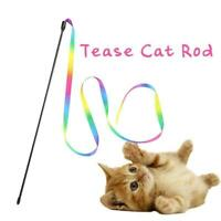 Pet Cat Toys Rainbow Cloth Stripe Tease Cat Rod Funny Playing Pet Toy Suppl T3W6
