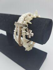 Hultquist multi strand Bracelet wood pearl shell stone silver tone boho stretch