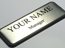 CUSTOMIZED Silver Metal NAME BADGE Text with Logo  PIN ATTACHMENT