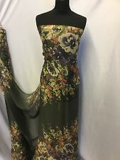 "NEW 100% Silk Chiffon Panel Floral Print Fabric 52"" 133cm Dress Scarf"