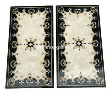 3'x2' Pair of Marble Top Dining Table Precious Inlay Stone Interior Decors B108